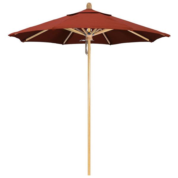 "Terracotta Fabric California Umbrella FLEX 758 SUNBRELLA 2A Sierra 7 1/2' Round Pulley Lift Umbrella with 1 1/2"" White Oak Fiberglass Pole - Sunbrella 2A Canopy"