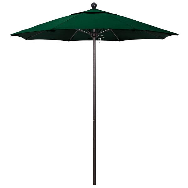 "Hunter Green Fabric California Umbrella ALTO 758 OLEFIN Venture 7 1/2' Round Push Lift Umbrella with 1 1/2"" Bronze Aluminum Pole - Olefin Canopy"