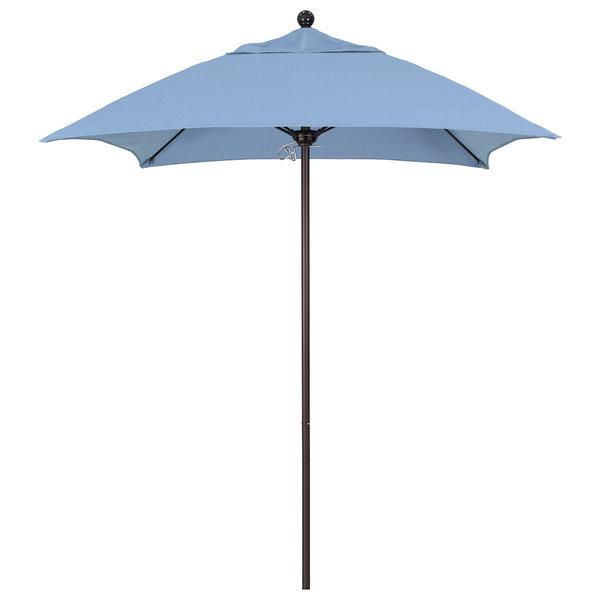 "Air Blue Fabric California Umbrella ALTO 604 SUNBRELLA 1A Venture Customizable 6' Square Push Lift Umbrella with 1 1/2"" Bronze Aluminum Pole - Sunbrella 1A Canopy"