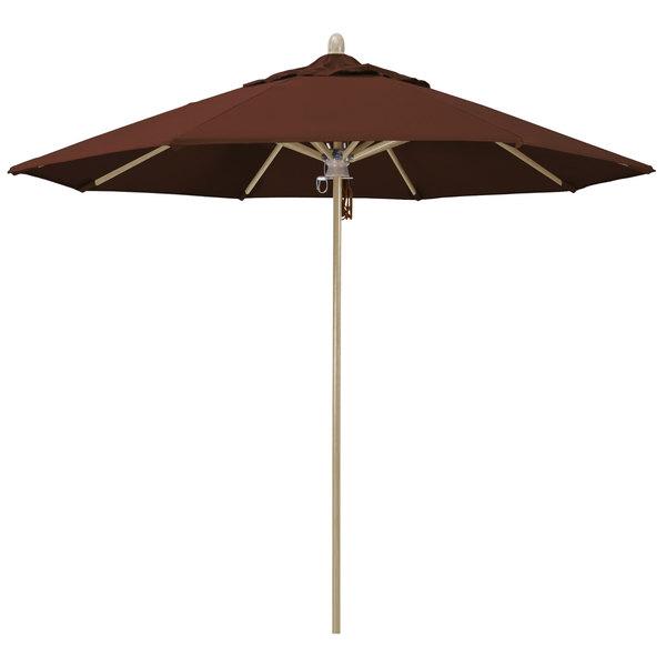 "Bay Brown Fabric California Umbrella FLEX 908 SUNBRELLA 2A Sierra 9' Round Pulley Lift Umbrella with 1 1/2"" White Oak Fiberglass Pole - Sunbrella 2A Canopy"
