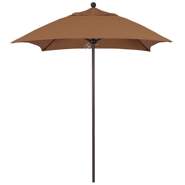 "Teak Fabric California Umbrella ALTO 604 SUNBRELLA 1A Venture Customizable 6' Square Push Lift Umbrella with 1 1/2"" Bronze Aluminum Pole - Sunbrella 1A Canopy"