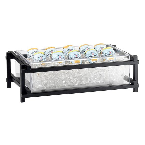 """Cal-Mil 1135-12-13 Black One by One Ice Housing with Clear Pan - 23 1/2"""" x 15 3/4"""" x 7 1/4"""""""