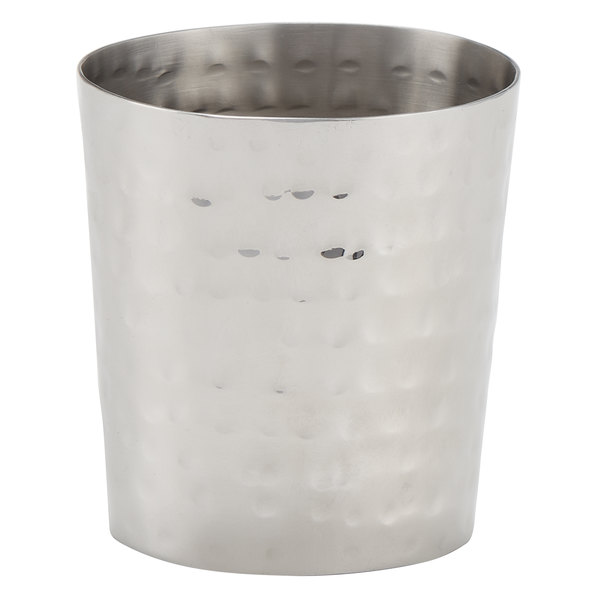 American Metalcraft FCH55 5.5 oz. Hammered Stainless Steel Oval French Fry Cup with Mirrored Finish