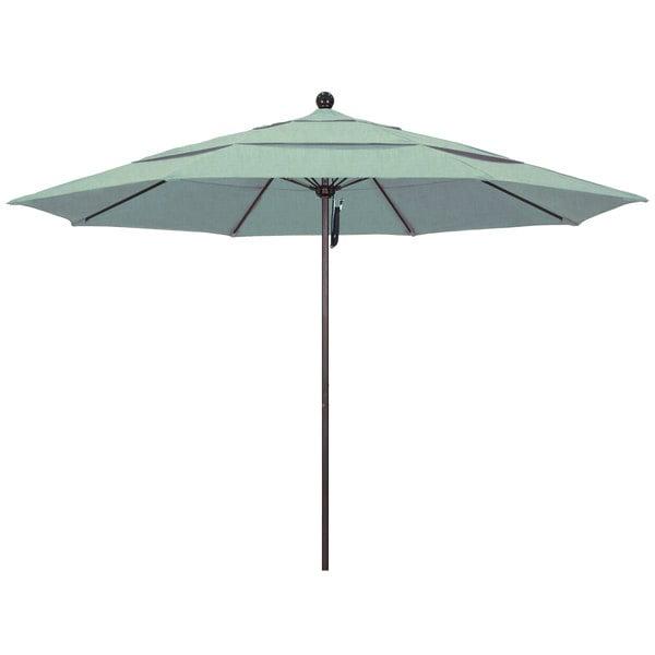 """Spa Fabric California Umbrella ALTO 118 SUNBRELLA 1A Venture 11' Round Pulley Lift Umbrella with 1 1/2"""" Bronze Aluminum Pole - Sunbrella 1A Canopy"""