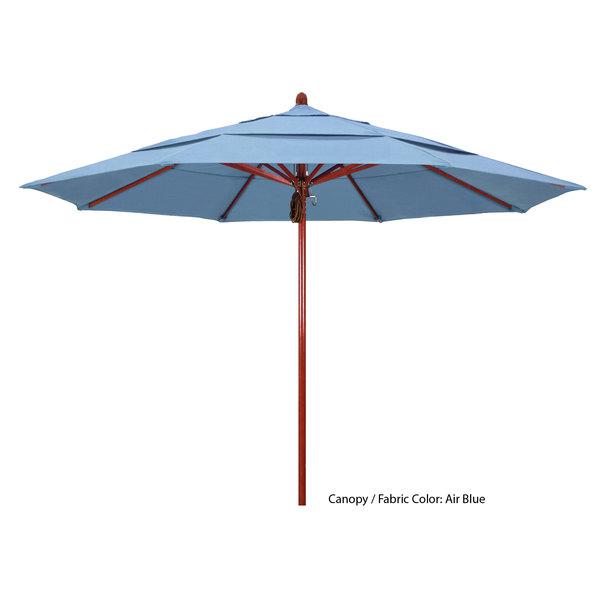 "California Umbrella FLEX 118 SUNBRELLA 1A Sierra 11' Round Pulley Lift Umbrella with 2"" Red Oak Fiberglass Pole - Sunbrella 1A Canopy Main Image 1"