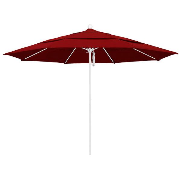 """Jockey Red Fabric California Umbrella ALTO 118 SUNBRELLA 2A Venture 11' Round Pulley Lift Umbrella with 1 1/2"""" Matte White Aluminum Pole - Sunbrella 2A Canopy"""