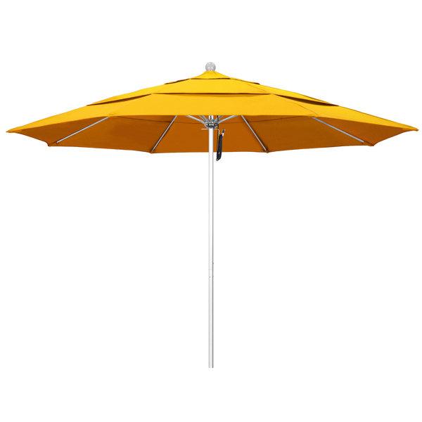 """Sunflower Yellow Fabric California Umbrella ALTO 118 SUNBRELLA 1A Venture 11' Round Pulley Lift Umbrella with 1 1/2"""" Silver Anodized Aluminum Pole - Sunbrella 1A Canopy"""