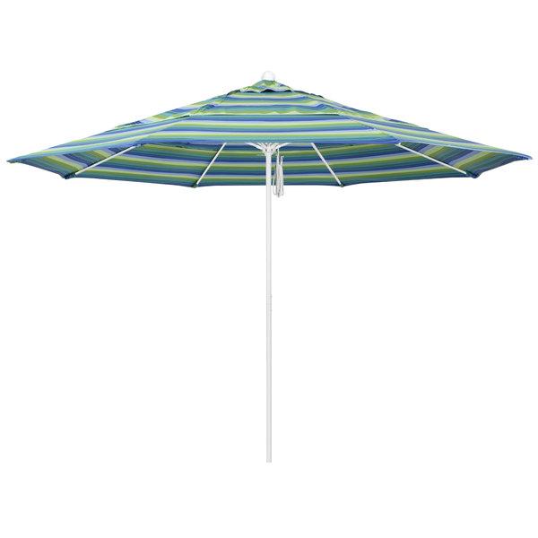 """Seville Seaside Fabric California Umbrella ALTO 118 SUNBRELLA 1A Venture 11' Round Pulley Lift Umbrella with 1 1/2"""" Matte White Aluminum Pole - Sunbrella 1A Canopy"""