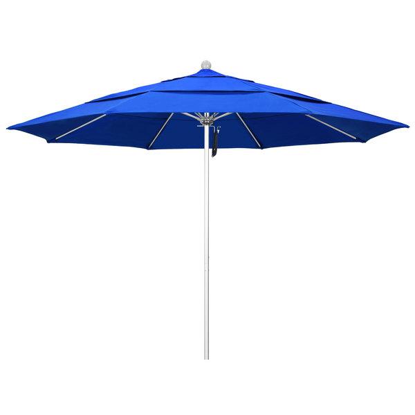 """Pacific Blue Fabric California Umbrella ALTO 118 SUNBRELLA 1A Venture 11' Round Pulley Lift Umbrella with 1 1/2"""" Silver Anodized Aluminum Pole - Sunbrella 1A Canopy"""