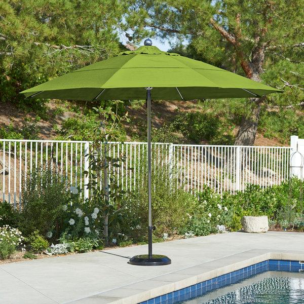 "California Umbrella LUXY 118 SUNBRELLA 2A Allure 11' Round Pulley Lift Umbrella with 1 1/2"" Stainless Steel Pole - Sunbrella 2A Canopy Main Image 5"