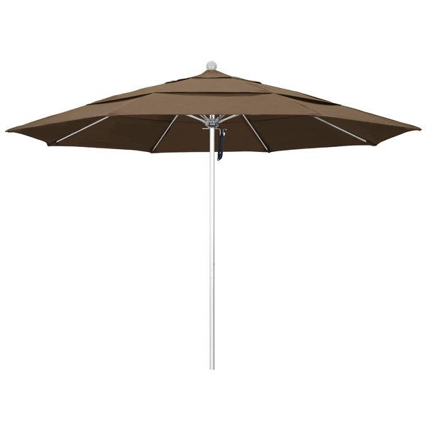 """Cocoa Fabric California Umbrella ALTO 118 SUNBRELLA 1A Venture 11' Round Pulley Lift Umbrella with 1 1/2"""" Silver Anodized Aluminum Pole - Sunbrella 1A Canopy"""