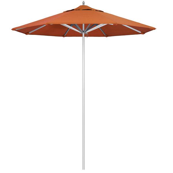"Tuscan Fabric California Umbrella AAT 758 SUNBRELLA 2A Rodeo 7 1/2' Round Push Lift Umbrella with 1 1/2"" Aluminum Pole - Sunbrella 2A Canopy"