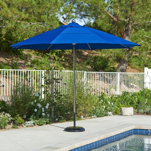 """California Umbrella LUXY 118 SUNBRELLA 1A Allure 11' Round Pulley Lift Umbrella with 1 1/2"""" Stainless Steel Pole - Sunbrella 1A Canopy"""