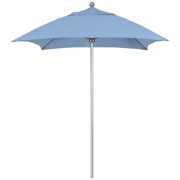 """Air Blue Fabric California Umbrella ALTO 604 SUNBRELLA 1A Venture Customizable 6' Square Push Lift Umbrella with 1 1/2"""" Silver Anodized Aluminum Pole - Sunbrella 1A Canopy"""