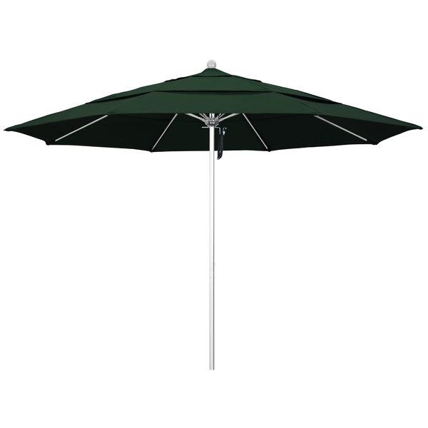 """Hunter Green Fabric California Umbrella ALTO 118 PACIFICA Venture 11' Round Pulley Lift Umbrella with 1 1/2"""" Silver Anodized Aluminum Pole - Pacifica Canopy"""