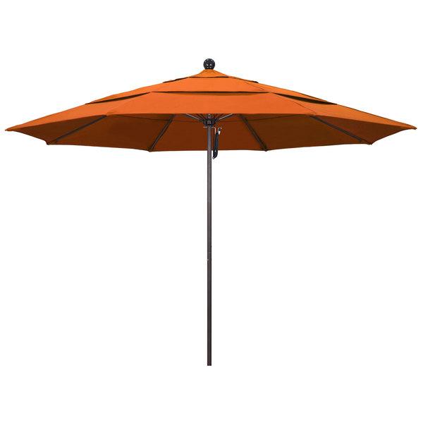 """Tuscan Fabric California Umbrella ALTO 118 PACIFICA Venture 11' Round Pulley Lift Umbrella with 1 1/2"""" Bronze Aluminum Pole - Pacifica Canopy"""