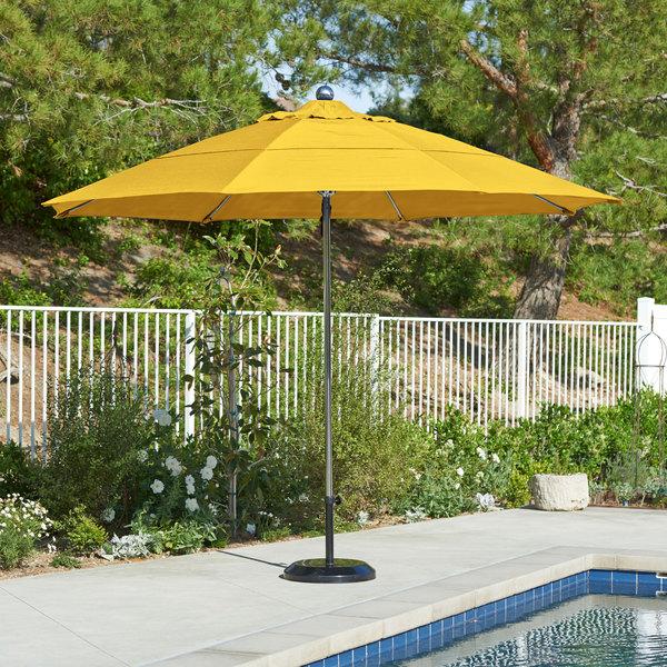 "California Umbrella LUXY 118 OLEFIN Allure 11' Round Pulley Lift Umbrella with 1 1/2"" Stainless Steel Pole - Olefin Canopy"