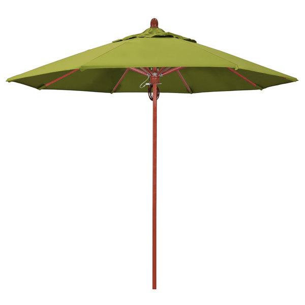 "Macaw Fabric California Umbrella FLEX 908 SUNBRELLA 2A Sierra 9' Round Pulley Lift Umbrella with 1 1/2"" Red Oak Fiberglass Pole - Sunbrella 2A Canopy"