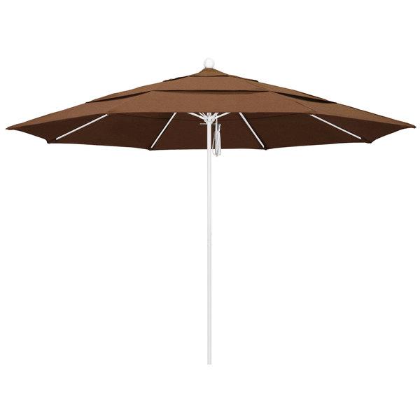 """Teak Fabric California Umbrella ALTO 118 SUNBRELLA 1A Venture 11' Round Pulley Lift Umbrella with 1 1/2"""" Matte White Aluminum Pole - Sunbrella 1A Canopy"""