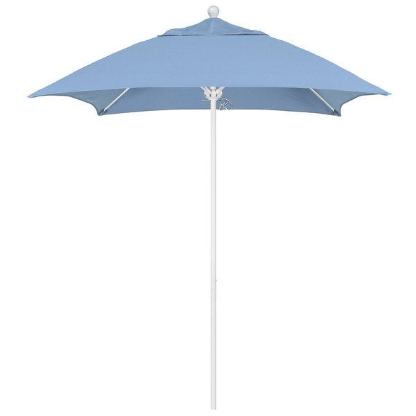 """Air Blue Fabric California Umbrella ALTO 604 SUNBRELLA 1A Venture Customizable 6' Square Push Lift Umbrella with 1 1/2"""" Matte White Aluminum Pole - Sunbrella 1A Canopy"""
