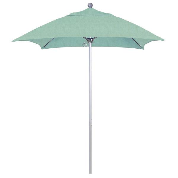 """Spa Fabric California Umbrella ALTO 604 SUNBRELLA 1A Venture Customizable 6' Square Push Lift Umbrella with 1 1/2"""" Silver Anodized Aluminum Pole - Sunbrella 1A Canopy"""