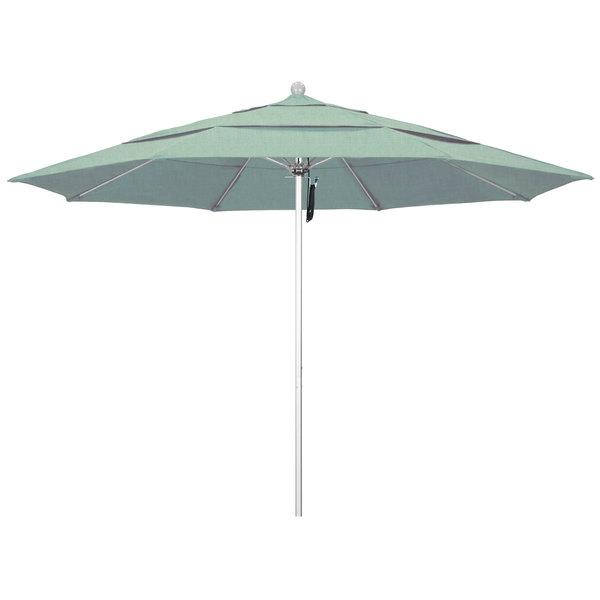 """Spa Fabric California Umbrella ALTO 118 SUNBRELLA 1A Venture 11' Round Pulley Lift Umbrella with 1 1/2"""" Silver Anodized Aluminum Pole - Sunbrella 1A Canopy"""