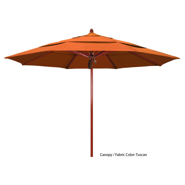 "California Umbrella FLEX 118 SUNBRELLA 2A Sierra 11' Round Pulley Lift Umbrella with 2"" Red Oak Fiberglass Pole - Sunbrella 2A Canopy Main Image 1"