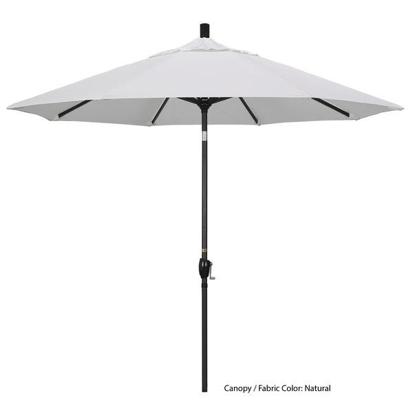 "California Umbrella GSPT 908 PACIFICA Pacific Trail 9' Crank Lift Umbrella with 1 1/2"" Stone Black Aluminum Pole"
