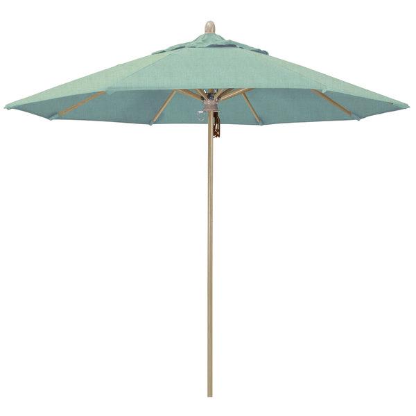 "Spa Fabric California Umbrella FLEX 908 SUNBRELLA 1A Sierra Customizable 9' Round Pulley Lift Umbrella with 1 1/2"" White Oak Fiberglass Pole - Sunbrella 1A Canopy"