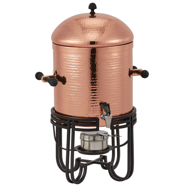 American Metalcraft MESABUCH13 3.25 Gallon (52 Cup) Round Copper Hammered Stainless Steel Coffee Chafer Urn Main Image 1