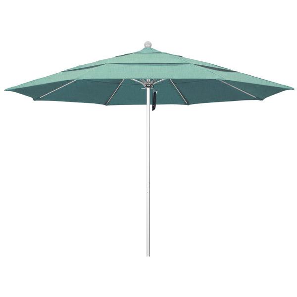 """Spectrum Mist Fabric California Umbrella ALTO 118 SUNBRELLA 1A Venture 11' Round Pulley Lift Umbrella with 1 1/2"""" Silver Anodized Aluminum Pole - Sunbrella 1A Canopy"""
