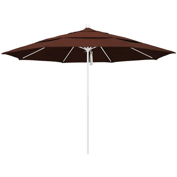 """Bay Brown Fabric California Umbrella ALTO 118 SUNBRELLA 2A Venture 11' Round Pulley Lift Umbrella with 1 1/2"""" Matte White Aluminum Pole - Sunbrella 2A Canopy"""