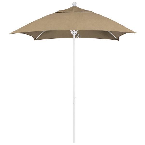 """Heather Beige Fabric California Umbrella ALTO 604 SUNBRELLA 1A Venture Customizable 6' Square Push Lift Umbrella with 1 1/2"""" Matte White Aluminum Pole - Sunbrella 1A Canopy"""