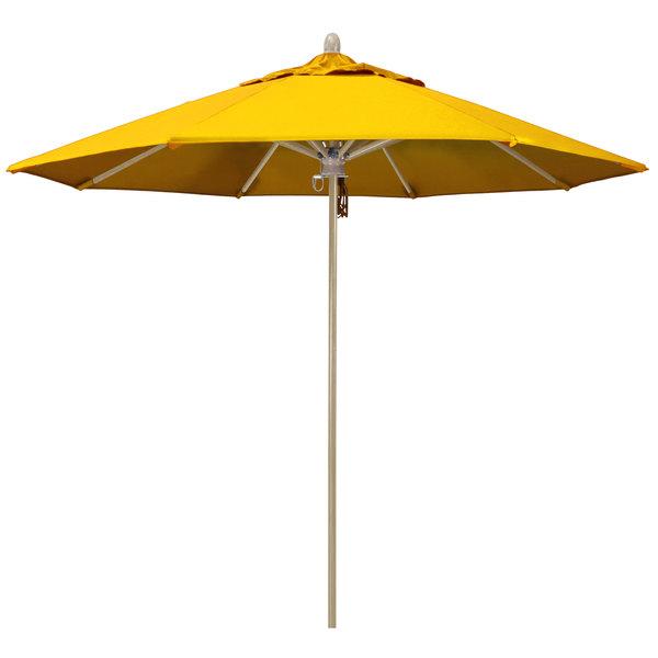 "Sunflower Yellow Fabric California Umbrella FLEX 908 SUNBRELLA 1A Sierra Customizable 9' Round Pulley Lift Umbrella with 1 1/2"" White Oak Fiberglass Pole - Sunbrella 1A Canopy"