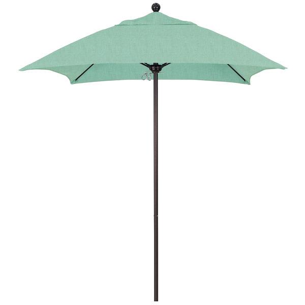 "Spectrum Mist Fabric California Umbrella ALTO 604 SUNBRELLA 1A Venture Customizable 6' Square Push Lift Umbrella with 1 1/2"" Bronze Aluminum Pole - Sunbrella 1A Canopy"