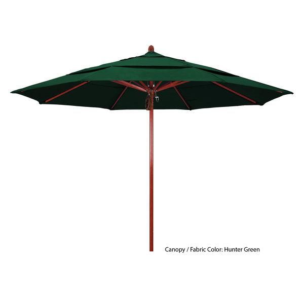 "California Umbrella FLEX 118 PACIFICA Sierra 11' Round Pulley Lift Umbrella with 2"" Red Oak Fiberglass Pole Main Image 1"