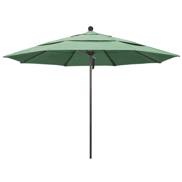 """Spa Fabric California Umbrella ALTO 118 PACIFICA Venture 11' Round Pulley Lift Umbrella with 1 1/2"""" Bronze Aluminum Pole - Pacifica Canopy"""
