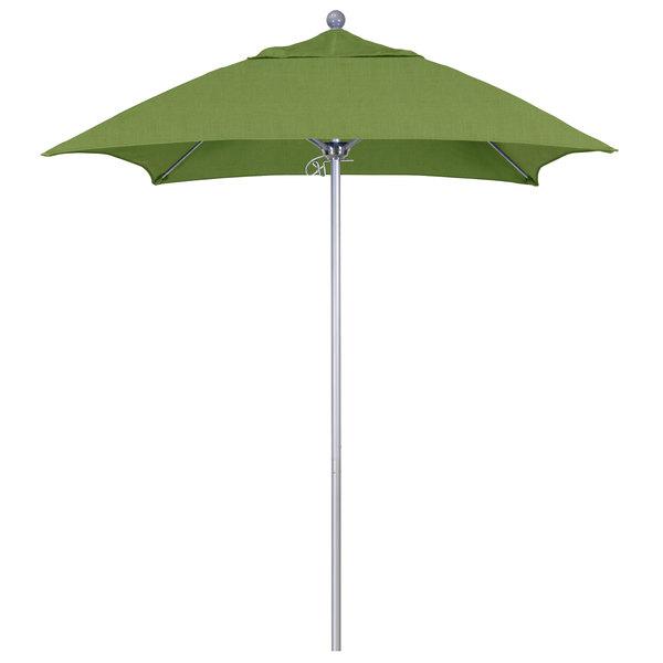 """Spectrum Cilantro Fabric California Umbrella ALTO 604 SUNBRELLA 1A Venture Customizable 6' Square Push Lift Umbrella with 1 1/2"""" Silver Anodized Aluminum Pole - Sunbrella 1A Canopy"""