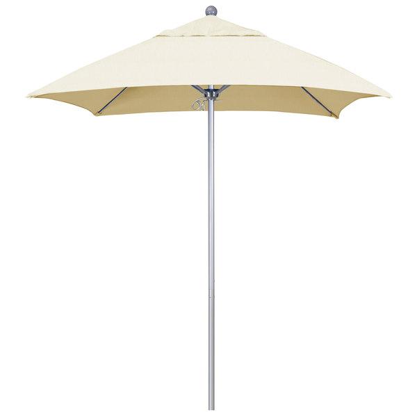 """Canvas Fabric California Umbrella ALTO 604 SUNBRELLA 1A Venture Customizable 6' Square Push Lift Umbrella with 1 1/2"""" Silver Anodized Aluminum Pole - Sunbrella 1A Canopy"""