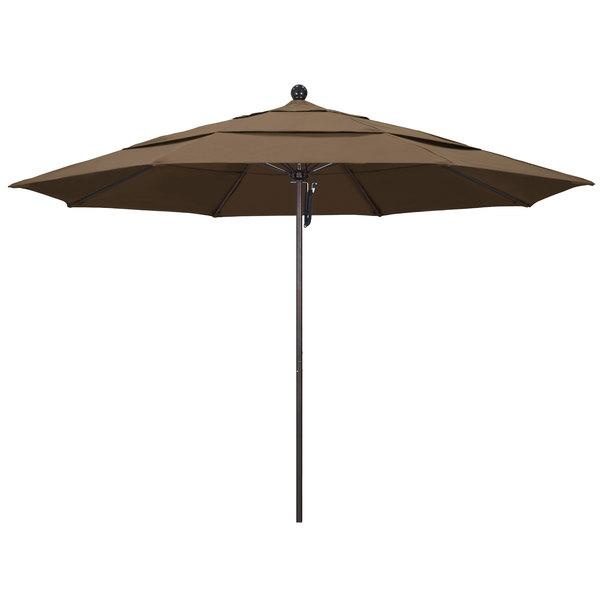 """Cocoa Fabric California Umbrella ALTO 118 SUNBRELLA 1A Venture 11' Round Pulley Lift Umbrella with 1 1/2"""" Bronze Aluminum Pole - Sunbrella 1A Canopy"""