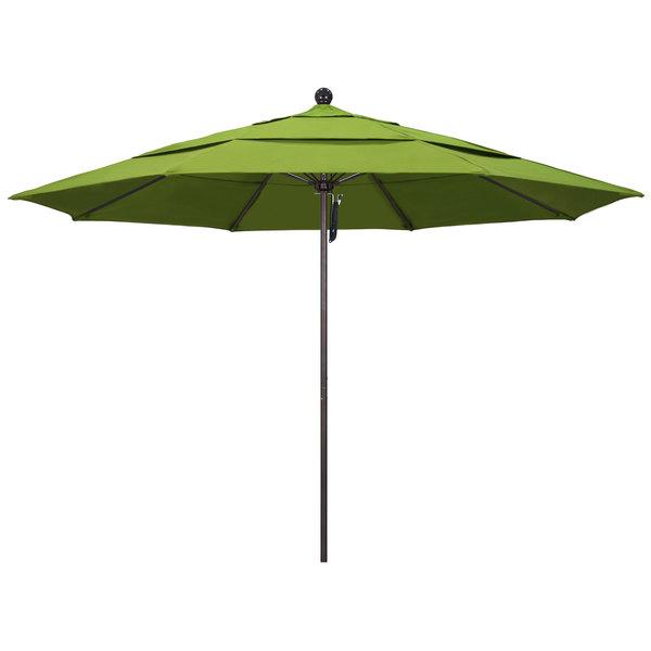 "Macaw Fabric California Umbrella ALTO 118 SUNBRELLA 2A Venture 11' Round Pulley Lift Umbrella with 1 1/2"" Bronze Aluminum Pole - Sunbrella 2A Canopy"
