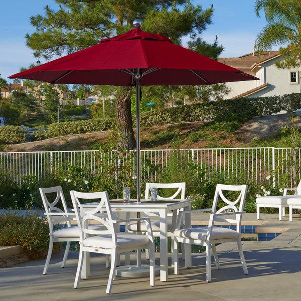 "California Umbrella LUXY 908 SUNBRELLA 2A Allure 9' Round Push Lift Umbrella with 1 1/2"" Stainless Steel Pole - Sunbrella 2A Canopy Main Image 5"