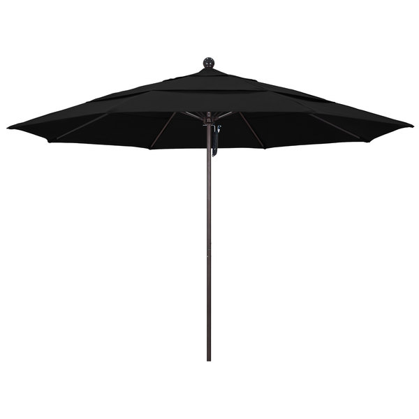 "Black Fabric California Umbrella ALTO 118 SUNBRELLA 1A Venture 11' Round Pulley Lift Umbrella with 1 1/2"" Bronze Aluminum Pole - Sunbrella 1A Canopy"