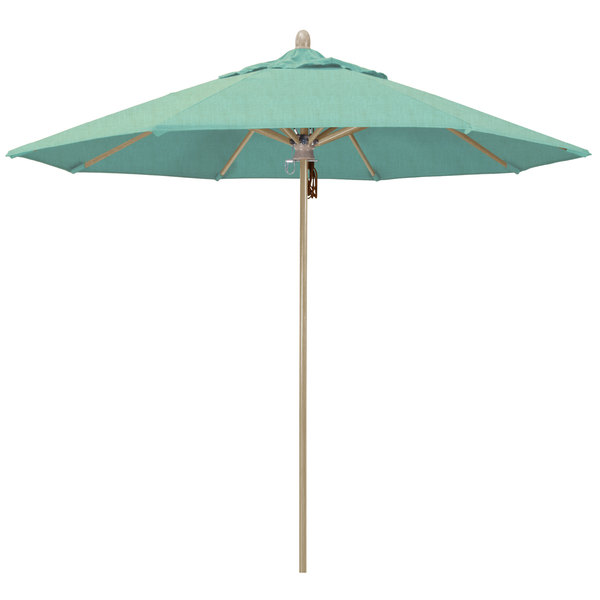 "Spectrum Mist Fabric California Umbrella FLEX 908 SUNBRELLA 1A Sierra Customizable 9' Round Pulley Lift Umbrella with 1 1/2"" White Oak Fiberglass Pole - Sunbrella 1A Canopy"