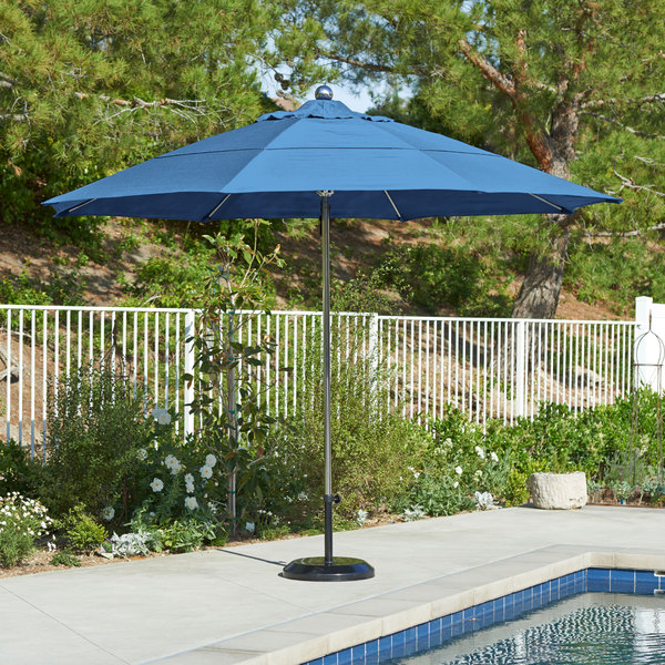 "California Umbrella LUXY 118 PACIFICA Allure 11' Round Pulley Lift Umbrella with 1 1/2"" Stainless Steel Pole - Pacifica Canopy"