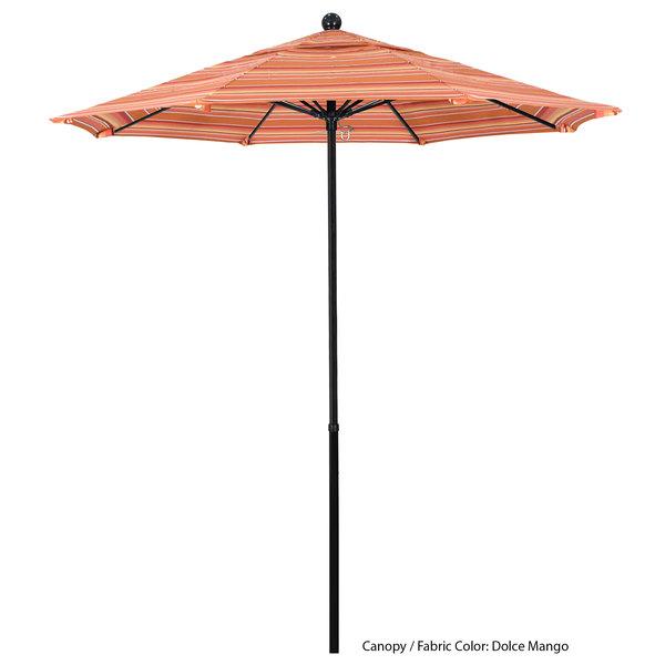 "California Umbrella EFFO 758 SUNBRELLA 1A Oceanside Customizable 7 1/2' Round Push Lift Umbrella with 1 1/2"" Fiberglass Pole - Sunbrella 1A Canopy Main Image 1"