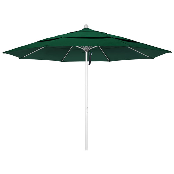 """Forest Green Fabric California Umbrella ALTO 118 SUNBRELLA 1A Venture 11' Round Pulley Lift Umbrella with 1 1/2"""" Silver Anodized Aluminum Pole - Sunbrella 1A Canopy"""