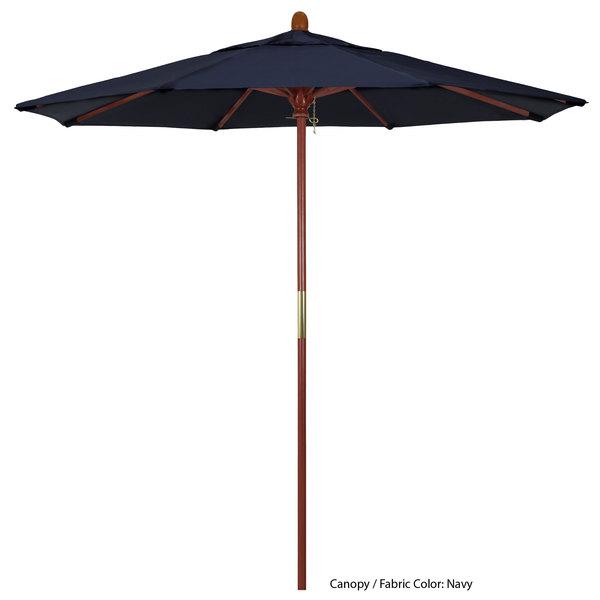 "California Umbrella MARE 758 SUNBRELLA 1A Grove Customizable 7 1/2' Round Push Lift Umbrella with 1 1/2"" Hardwood Pole - Sunbrella 1A Canopy Main Image 1"