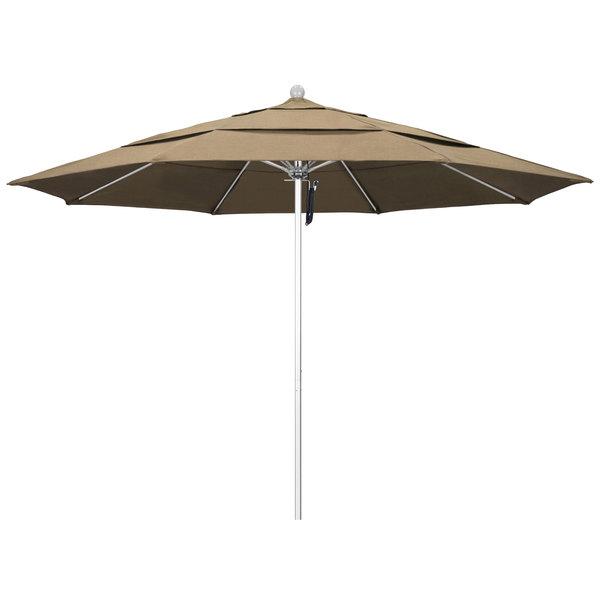 """Heather Beige Fabric California Umbrella ALTO 118 SUNBRELLA 1A Venture 11' Round Pulley Lift Umbrella with 1 1/2"""" Silver Anodized Aluminum Pole - Sunbrella 1A Canopy"""