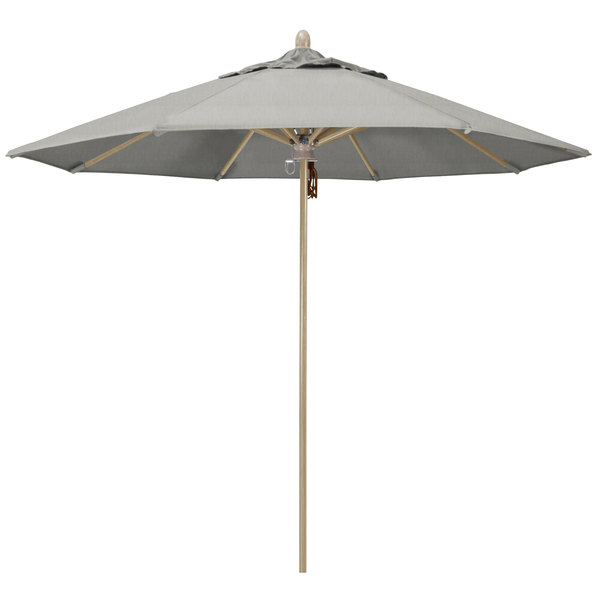 "Granite Fabric California Umbrella FLEX 908 SUNBRELLA 1A Sierra Customizable 9' Round Pulley Lift Umbrella with 1 1/2"" White Oak Fiberglass Pole - Sunbrella 1A Canopy"